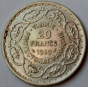 20 Francs 1939 - TUNISIA, French Protectorate, Silver crown