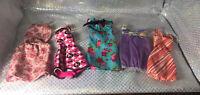 Mattel Barbie Doll FASHIONISTAS 5 piece Dresses Party LOT Clothing Shoes Bag