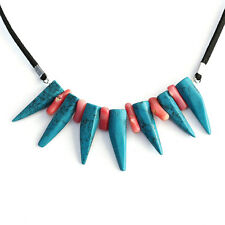 Natural Turquoise Tooth Shape Pink Coral Gemstone Pendant Necklace