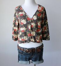 H&M Cardigan Floral V Neck Crop Sleeve Juniors Sweater 3/4 Top Shirt M