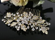 Gold tone hair comb bridal wedding crystal rhinestone hair accessories ha3204