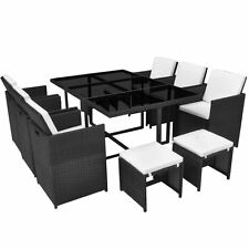 Patio Rattan Dining Set Garden Outdoor Furniture Table 6 Chairs 4 Stools  Black