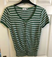 New Look Ladies Womens Top Size 12 Green Stripe Button Front Short Sleeve