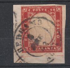 FRANCOBOLLI 1863 SARDEGNA C 40 ROSSO VERMIGLIO BERGAMO 6/2 Z/5075