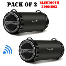 Pack of (2) New SereneLife SLBSP11 Compact BT Boombox, MP3/USB/Micro SD/FM Radio