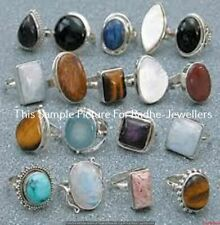 Tiger Eye & Mixed Gemstone 5 pcs Wholesale Lot 925 Sterling Silver Plated Rings
