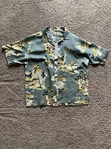Tommy Bahama Silk Shirt XL Green Yellow Hawaiian Tropical Beach Print