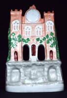Large Antique Staffordshire Pottery Flatback Victorian Castle Clock Tower c1860s