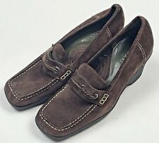 Aerosoles Loafer Heels Womens Size 6 Brown Suede Leather Shoes Slip On