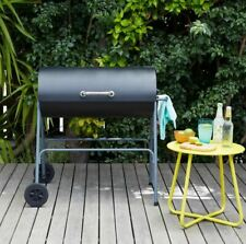 Texas Oil Drum BBQ Charcoal Grill Barbecue - Black - FAST & FREE DELIVERY