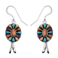 Santa Fe Style 925 Sterling Silver Purple Turquoise Hook Dangle Earrings Gift
