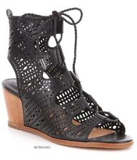 DOLCE VITA women Lamont Ghillie Perforated WEDGE LEATHER SANDALS Lace BLACK 8 M