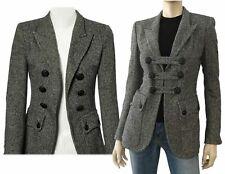 BALMAIN Double Breasted Herringbone Wool Blazer 38 US 6