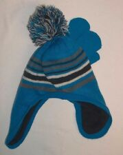 Childrens Place Blue Gray Stripped Knit Hat & Mittens 4T/5T NWOTS!