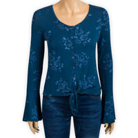 Womens Ladies Bell Sleeve Light Jersey Boxy Top Tie Hem Casual Sweatshirt Blouse