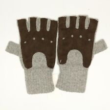 Bloomingdales Mens Fingerless Gloves S/M Gray Cashmere Knit Brown Suede Leather