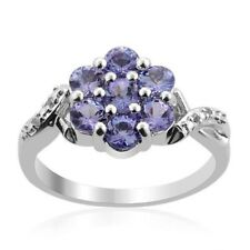 Natural Tanzanite Round Flower Cluster Engagement Ring 925 Sterling Silver