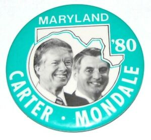 """1980 JIMMY CARTER 3"""" MARYLAND campaign pin pinback button political presidential"""