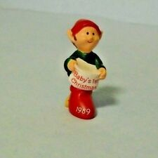 "1989 Hallmark Merry Miniature ""Baby's First Christmas"" Elf"