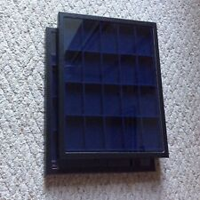 """1 - Box (of 2) 12"""" x 16"""" x 3/4"""" Display Cases (""""Riker"""" type) with BLUE Dividers"""