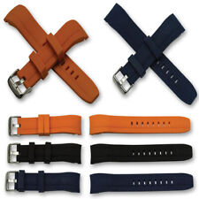 Curved end silicone rubber watch divers strap 22mm dive band orange blue black