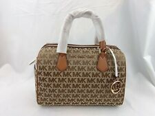 NWT MICHAEL KORS BEDFORD LG DUFFLE LEATHER SATCHEL CROSSBODY BROWNSIGNATURE