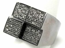 MENS BLACK GOLD FINISH AAA DIAMOND ICED OUT 3D WEDDING BAND PINKY RING 3.00 CT