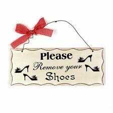 """Wood Folk Wisdom Plaque 4""""H x 10""""L (Please Remove Your Shoes)"""