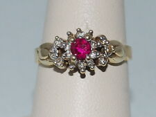 10k Gold ring with pink tourmaline and CZ diamonds
