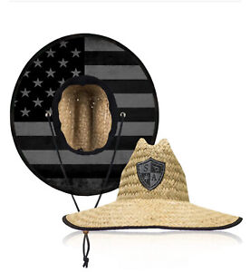 Salt Armour Under Brim Straw Hat(BLACKOUT AMERICAN FLAG)Quality Straw Wide Brim