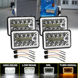 "4PCs 4x6"" LED Headlight High-Low DRL For Freightliner FLD120 112 Isuzu NQR NPR"