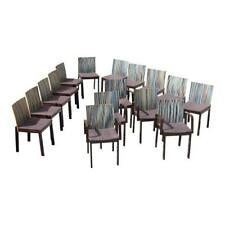 Fine Set of Sixteen French Art Deco '' Stripes Vertical'' Dining Chairs. AS IS