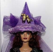 Purple Slippers Gold Wand Lavender Mini Salem Witch Hat #8 fr Doll BottleTop Orn