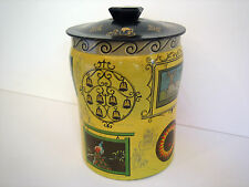 """George W. Horner Tin Metal Can 6.5"""" Tall Cylindrical Round Container Box England"""
