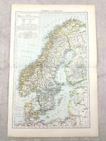 1895 Map Of Norwegen Schweden Die Baltic Sea Antik 19th Century Viktorianisch