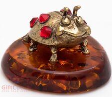 Solid Brass Amber Figurine beetle Ladybug Ladybird IronWork