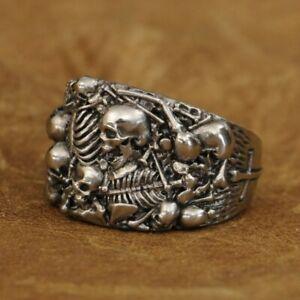 LINSION Cupronickel Skulls Grave Ring Mens Biker Rock Punk Ring CP257B UK N½~Z4