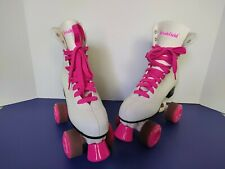 Vintage Brookfield Ladies Roller Skates Size 6 Used White And Pink Wheels
