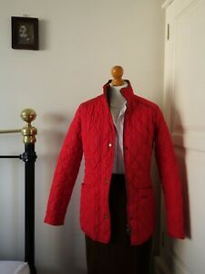 Barbour Red Quilted Fitted Classic Tartan Lining Jacket Size 10