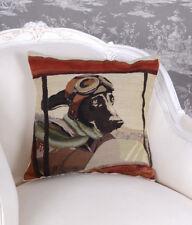 Englisches Kissen Gobelin Zierkissen Hundepilot Art Deco Sofakissen Kissenhülle