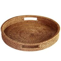 Rattan Tray With Handle-Hand-Woven Multi-Purpose Wicker Tray With Durable B5L8