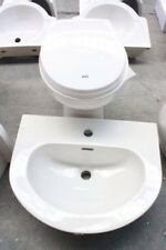 HERITAGE White Back-to-Wall Toilet WC Pan + Inset Basin Sink, RRP £445