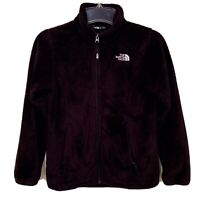 The North Face Girls Osolita Fleece Jacket Size 10/12 Black Plush Full Zip Coat