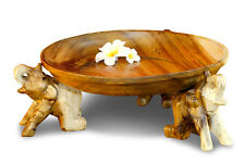 Elephants Bowl Wooden Bowl Carved From Thailand Wood Thai Elephant Deco Natural