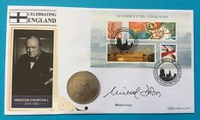 2007 Celebrating England FDC Signed MICHAEL DOBBS, 1965 UK Churchill Crown Coin
