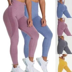 Women Gym Fitness Seamless Yoga Leggings High Waisted Strech Workout Sport Pants