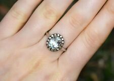 LeVian Chocolate Diamonds Green Amethyst Cocktail RING 14k White Gold NEW size 7