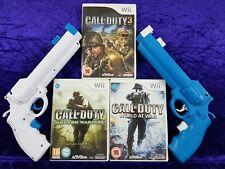 wii CALL OF DUTY X3 + 2 Revolver Light Guns 3 + MODERN WARFARE + WORLD AT WAR