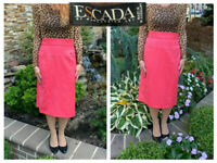 VINTAGE ESCADA MARGARETHA LEY WATERMELON PINK  WOOL STRAIGHT PENCIL SKIRT 36 6