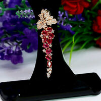NATURAL RED RUBY & WHITE CZ LONG PENDANT 925 STERLING SILVER